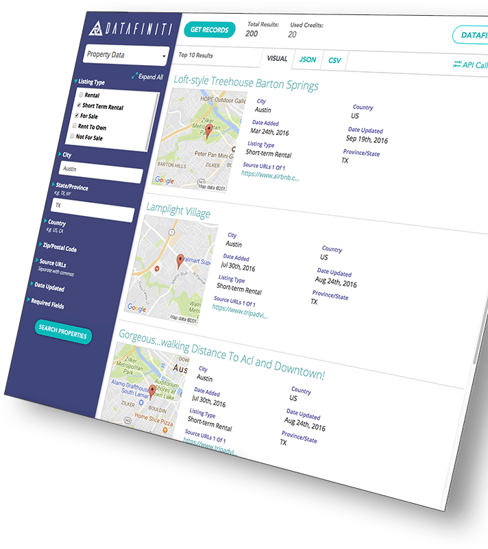 A preview of Datafiniti's property data product in its web portal. Users can access their desired property data listings, requested fields, and final result files with the click of a button.