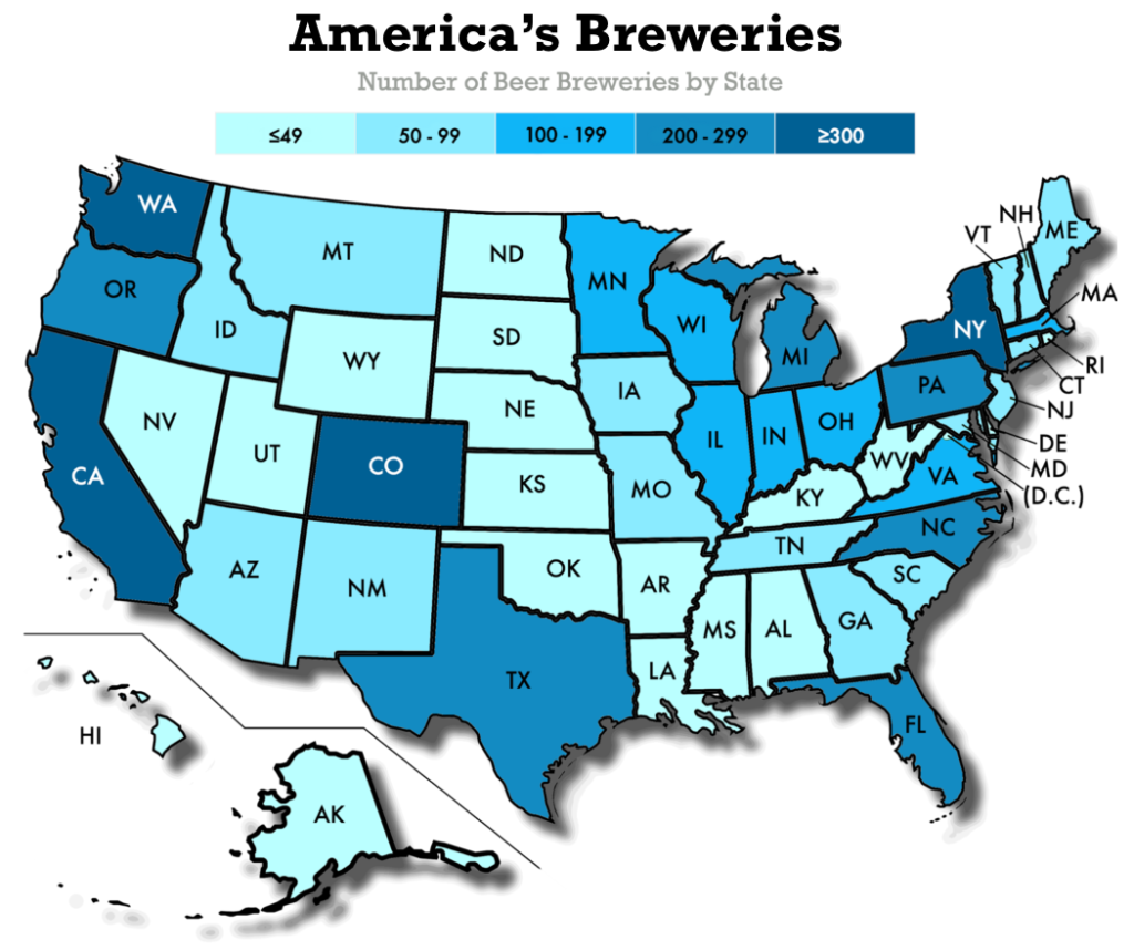 Datafiniti used its Product Data to analyze over 17,000 breweries and their craft beer to break down the number of beer breweries by state.
