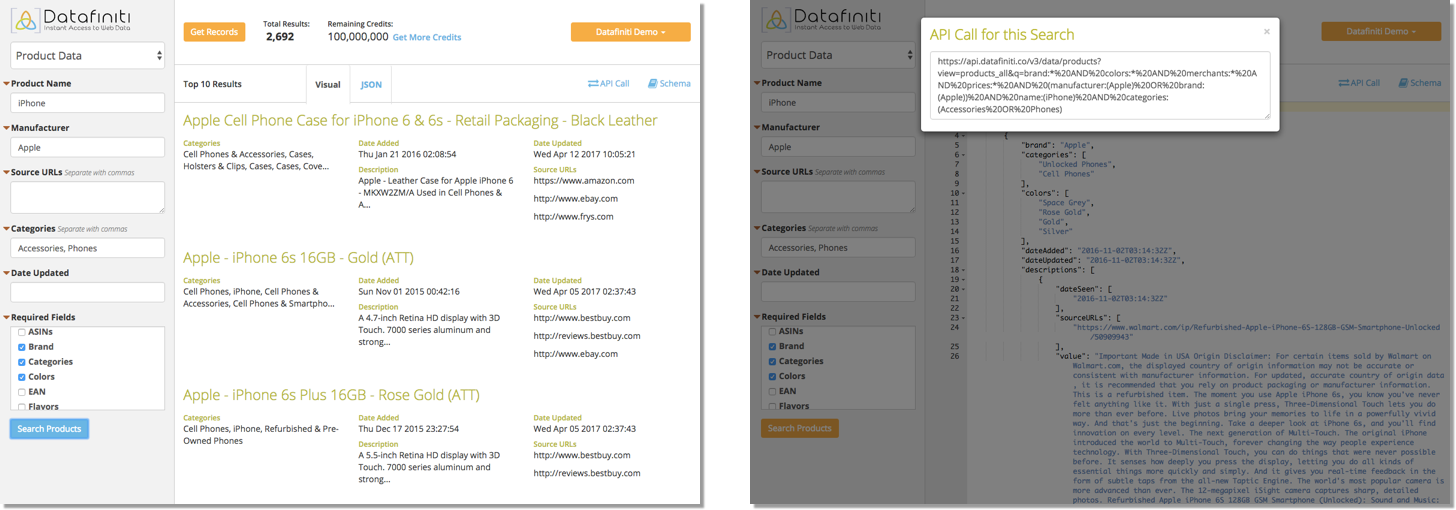 Product data results in JSON format with the corresponding API in Datafiniti's web portal.