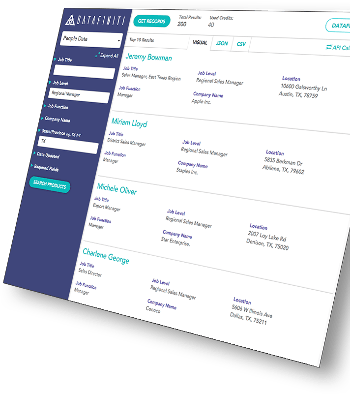 A preview of Datafiniti's people data product in its web portal. Users can access their desired business data listings, requested fields, and final result files with the click of a button.